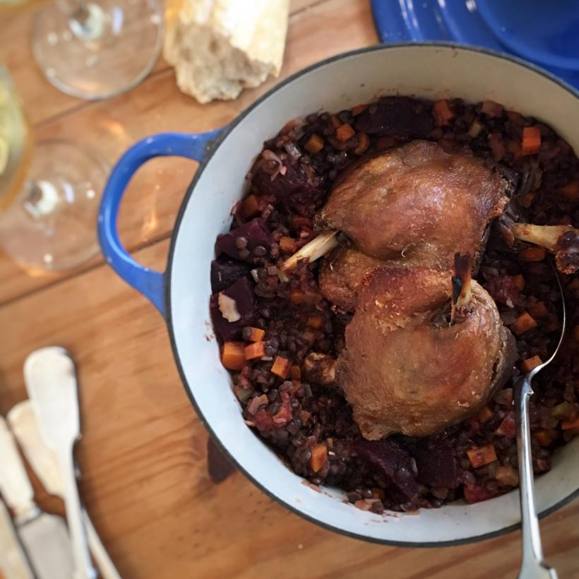 Duck and beetroot lentils