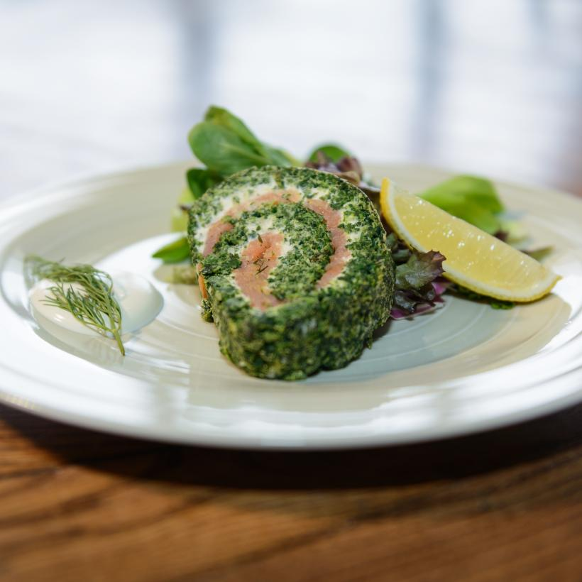 Spinach & salmon roulade