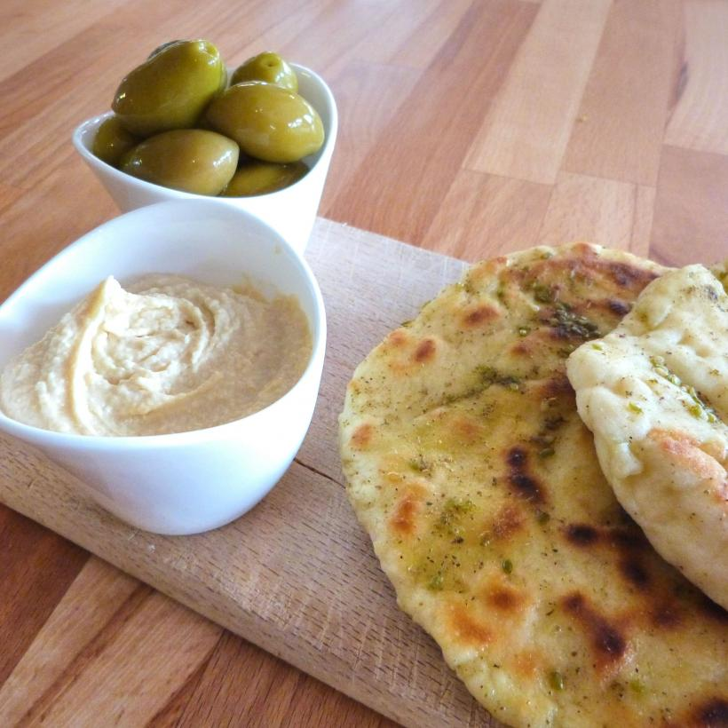 flatbreads houmous olives